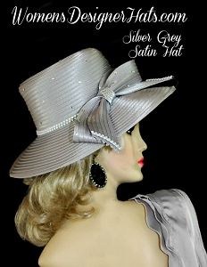 Hat Satin Silver Grey Pink Ivory White Black Beige Women's Dress Hats