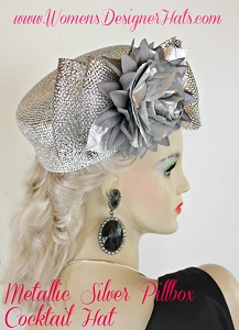 Metallic Silver Grey Pillbox Wedding Cocktail Hat Ladies Designer Hats