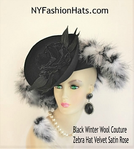 Women's Couture Black Winter Wool Fur Feather Black White Zebra Art Deco Hat, Church Wedding Formal Millinery 1380