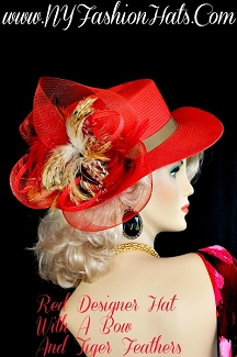 Ladies Red Designer Hat Beige Brown Copper White Tiger Feathers Hats