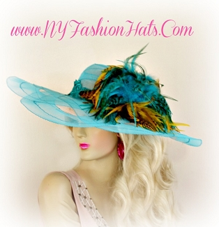 Turquoise Blue Mustard Yellow Brown Designer Hat For Women Dress Hats