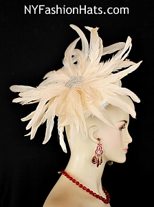 Kentucky Derby Hats, Women's Ivory Bridal Wedding Dramatic Feather Fascinator Cocktail Hat Headpiece