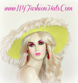 Ladies Yellow Wedding Brides Formal Hat Designer Church Hats BR490