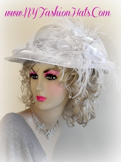 Ladies White Church Bridal Wedding Hat Ivory Black Lavender Hats R78