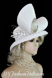 White Couture Bridal Wedding Hat Brides Headpiece Church Designer Hats