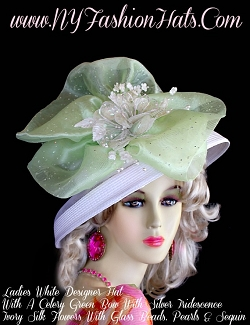 Women's White Celery Green Ivory Designer Hat With Flowers, Dress Hats