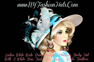 White Turquoise Peacock Blue Formal Dress Designer Hat With Feathers