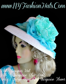 White Aqua Turquoise Blue Designer Hat, Hats For Weddings, Fashion Hat