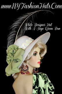 Women's White Dress Hat With A Sage Jade Olive Green Bow, Hats For Weddings