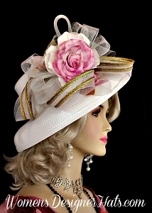 White Metallic Gold Pink Women's Designer Hat, Kentuck Derby Hats