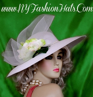 Ladies White Wide Brim Wedding Hat With A Rose Kentucky Derby Hats