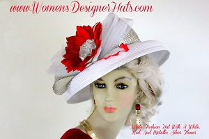 White Silver Red Kentucky Derby Hat, Women's Designer Dress Hats