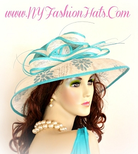 Ladies Turquoise Blue Black White Beige Straw Designer Hat Dress Hats