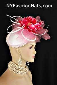 Kentucky Derby Hats, Women's White Pink Bridal Wedding Fascinator Cocktail Hat Headpiece