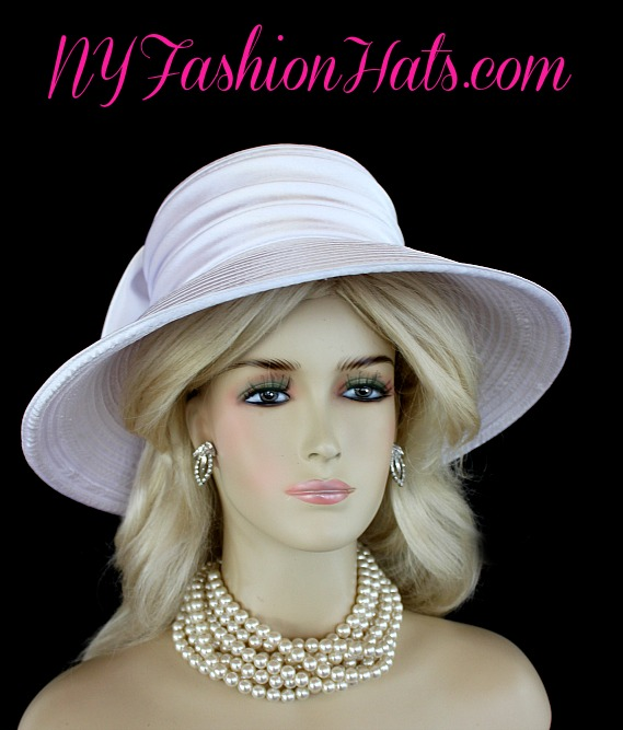 f2130bffc5b86 Ladies White Wide Brim Formal Wedding Bridal Satin Designer Fashion Hat.  This elegant women s Church hat can be worn with the bow toward the front  or toward ...