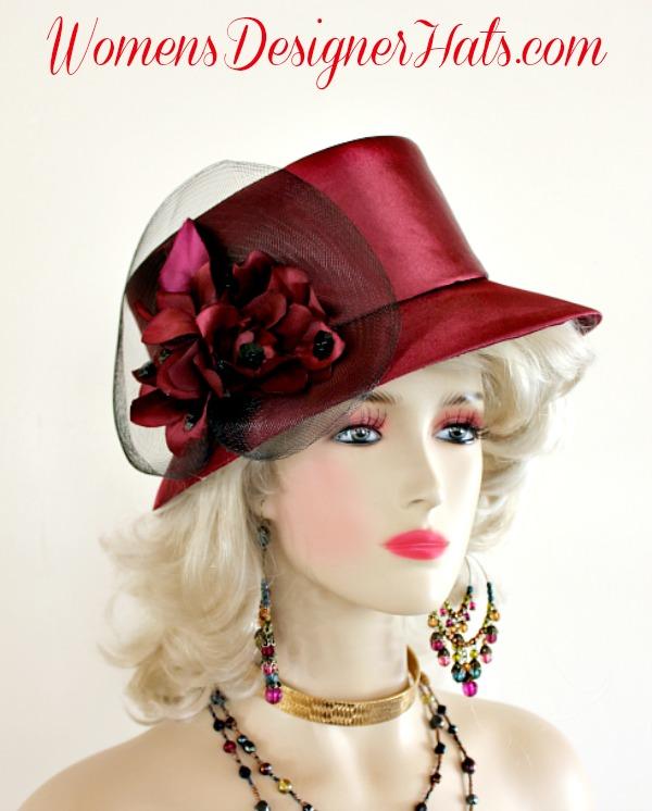 fd0e5670cab10 Ladies Wine And Black Custom Made Slant Abstract Brimmed Satin Designer  Fashion Church Hat. This Elegant Women s Hat Is Embellished With Wine Hand  Made ...