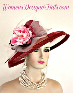 Ladies Wine Burgundy Pink Designer Fashion Wedding Church Hat Horse Race Hats QZ36