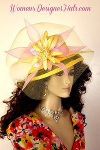 Ladies Yellow Pink Designer Kentucky Derby Hat Woman's Fashion Hats