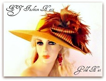 Kentucky Derby Hats, Antique Gold Formal Dress Tea Hat For A Wedding