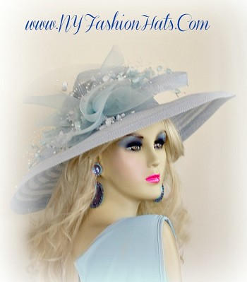 Pastel Sky Baby Blue Designer Kentucky Derby Hat With Flowers, For Stylish Ladies, By www.NYFashionHats.Com