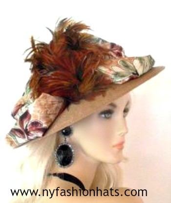 Taupe Beige Light Brown, Wide Brim Designer Hat For Women By www.nyfashionhats.com