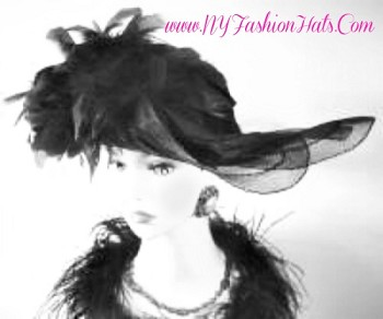 Black Lift Up Brim Designer Fashion Hat, With Your Choice Of Custom Feather Colors, By www.NYFashionhats.Com