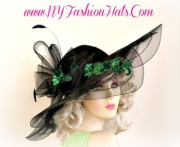 Black Wide Brim Designer Hat For Women, With A Black Fancy Bow, Kelly Green Sequin Appliques, And Black Feathers.  This Dress Hat, Is Suited For The Kentucky Derby, The Belmont Stakes, The Preakness, Horse Races, Church, A Wedding, Formal Events, A Tea Party, And Special Occasion. Custom Made And Designed By NY Fashion Hats - www.NYFashionHats.Com