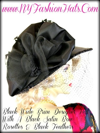 Ladies Women's Black Wide Brim Designer Hat, With A Face Veil, Black Sheer And Satin Bow, Black Satin Rosettes, And Black Feathers. A Perfect Hat, For The Kentucky Derby, Horse Racing Events, The Preakness, Weddings, Formals, And Special Occasion.  By www.NYFashionHats.Com