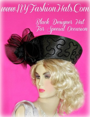 Ladies Black Custom Designer Hat, With A Netting Bow, And Black Roses.  A Perfect Dress Hat, For Winter, Spring, Summer Or Fall.  This Special Occasion Hat, Is Suited For Church, Temple, Funerals, Holidays, Horse Races, The Kentucky Derby, And Formals.  By www.NYFashionHats.Com