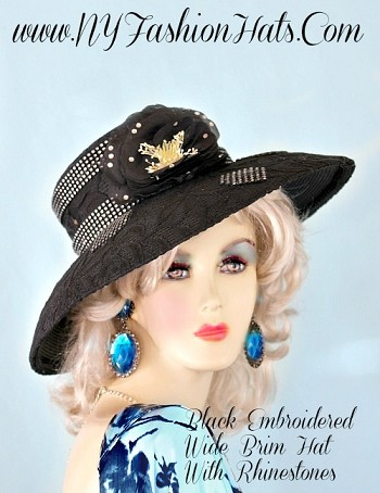 Ladies Black Wide Brim Designer Hat, With Embroidery, Rhinestones, And A Flower.  This Fashion Hat, Is Available In Ivory, White, And Black.  A Perfect Special Occasion Hat, For Weddings, Church, The Kentucky Derby, Horse Races, Garden Tea Parties, And Formals.  By www.NYFashionHats.Com