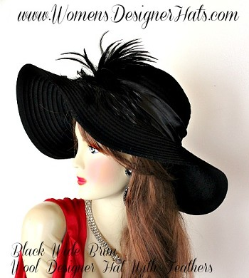 Black Wide Brim Floppy Designer Winter Hat By Womens Designer Hats
