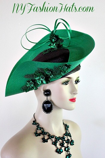 Ladies Black Kelly Green Pillbox Formal Designer Fashion Hat Church Hats
