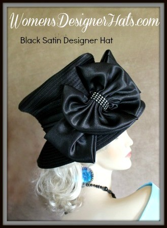 Designer Hats Black Champagne Beige White Satin Dress Hat For Women