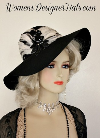 Women's Black Designer Hat With Black White Feathers, Winter Wool Hats