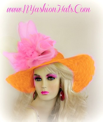 Bright Orange And Pink, Formal, Designer, Dressy Hat, Customize This Church Hat, With Your Choice Of Custom Hat, Bow, And Feather Colors, By www.NYFashionHats.Com