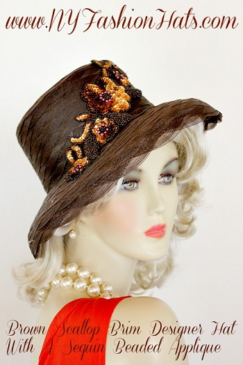 Ladies Women's Brown Scallop Brim Designer Fashion Hat, Embellished With A Copper Golden Brown Sequin Pearl Floral Applique.  This Church Or Special Occasion Hat, Is Suited For Any Holiday Or Formal.  We Sell Church Hats, Hats For Formals, Hats For Horse Races, Kentucky Derby Hats, And Special Occasion Hats.  Custom Made And Designed By NY Fashion Hats Headwear Millinery.  www.nyfashionhats.com