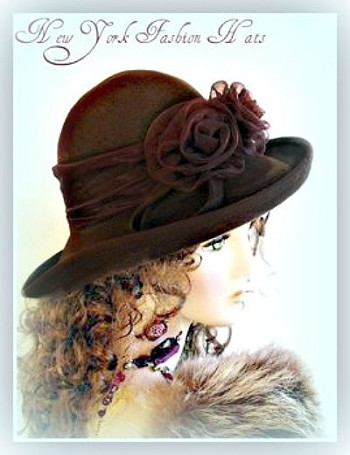 Ladies Brown Winter Wool Felt Designer Hat Women's Fashion Hats