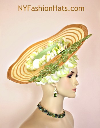 Women's Elegant Gold Lime Green White Statement Wide Brim Designer Church Wedding Pillbox Hat. This Hand Made High Fashion Hat Is Trimmed With Vintage Silk Lime Green And White Flower Petals Entirely Wrapped Around The Lime Green Pillbox Crown Enhanced With A Beautiful Antique Gold Shaped Wide Brim. Placed With This Wide Brim Are The Same Gorgeous Lime Green And White Vintage Flower Petals. Two Beaded Sequin Lime Green Floral Appliques Are Placed On This Shaped Gold Brim. This Is A Wonderful Addition For That Runway Look.This Formal Wedding Kentucky Derby Hat Will Made A Feminine Fashion Statement.  This Versatile Dress Hat Is Custom Made And Designed By NY Fashion Hats Couture Millinery, https://www.nyfashionhats.com