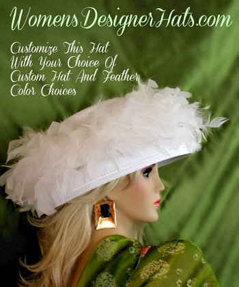 White Straw Braid Kentucky Derby Hat For Womem With Feathers. This Designer Hat Is Trimmed With Feathers Around The Entire Crown Of This Versatile Hat. This Beautiful Dress Hat Is Available In A Variety Of Colors: Colors Include: White, Black, Silver Grey, Emerald Green, Chocolate Brown And Royal Blue. This Designer Custom Made Hat Is A Show Stopper. Custom Made And Designed By Women's Designer Hats, www.womensdesignerhats.com