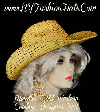 Ladies Women's Metallic Gold Western Cowboy Dress Hat WiFor Special Occasion, Casual Wear, Equestrian Events, And Formals.  By www.NYFashionHats.Com