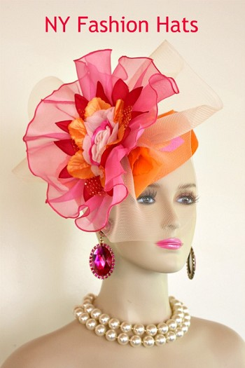 Women's Haute Couture Orange And Hot Pink Wedding Bridal Mother Of The Bride Fascinator Headpiece. Pillbox Style Handmade Flower And Bowing. This Dress Hat Is Suited For Church, Weddings, Formals, Holidays And Horse Races. Custom Made And Designed By NY Fashion Hats Couture Millinery