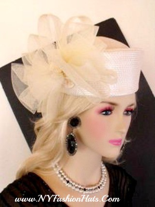 Ivory Black Red White Pink Pillbox Wedding Church Hat Formal Hats 4Z