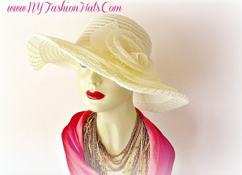 Ladies Ivory Butter Cream Pink White Church Hat Designer Hats LRP5