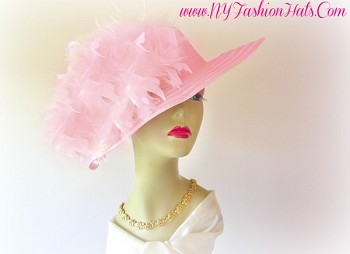Pink, Red, Or Pink, Wide Brim, Custom Feather, Designer Hat For Women.  This Special Occasion Dress Hat, Is Suited For Winter, Spring, Summer Or Fall.  A Perfect Fashion Hat, For Formal Events, Parties, Church, A Wedding, Horse Racing, The Kentucky Derby, The Belmont Stakes, The Preakness, And A Tea Party.  Custom Made And Designed By NY Fashion Hats, www.nyfashionhats.com