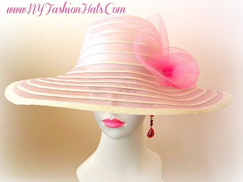 Pink And Ivory Wide Brim Designer Kentucky Derby Hat For Women.  This Hat Is Available In Many Colors.  We Specialize In Kentucky Derby Hats For Women, Dress Hats For Women Ladies Fashion Hats, Designer Hats For Weddings, Church Hats, Tea Party Hats, Ladies Formal Hats, Kentucky Oaks Hats, Preakness Hats, Belmont Stakes Hats, And Special Occasion Hats For Women.  Custom Made And Designed By NY Fashion Hats Millinery Headwear.  http://www.nyfashionhats.com