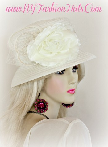 Ivory Designer Sheer Fabric Designer Hat For Women, By www.NYFashionHats.Com