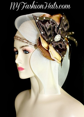 Ivory Satin Pillbox Designer Cocktail Hat Women Fashion Wedding Hats 631N