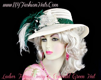 Ladies Ivory Sheer Designer Hat With Ivory And Emerald Green Feathers.  A Beautiful Ivory Organza, Custom Made Silk Flower With Glass Beads, Sequin And Pearls, Is Placed Next To The Feathers.  An Emerald Green Embroidered Trim, Is Placed Around The Crown Of This Fashion Hat.  We Sell Church Hats, Designer Hats For Women, Kentucky Derby Hats, Dress Hats For Women, Ladies Formal Hats, Belmont Stakes Hats, Preakness Hats, Saratoga Horse Racing Hats, Hats For Weddings, Tea Party Hats, Holiday Hats, Easter Hats, And Special Occasion Hats.  Custom Made And Designed By NY Fashion Hats Millinery Women's Headwear Apparel, http://www.nyfashionhats.com