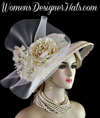 Ivory Wide Brim Kentucky Derby Hat Church Designer Fashion Hats