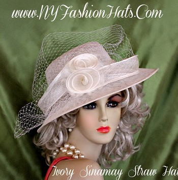 73e77734a97d0 Women s Ladies Ivory Sinamay Straw Designer Hat Spring Hats B912